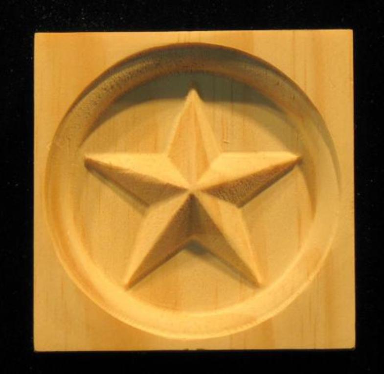 Wood Corner Block Americana Star Carving