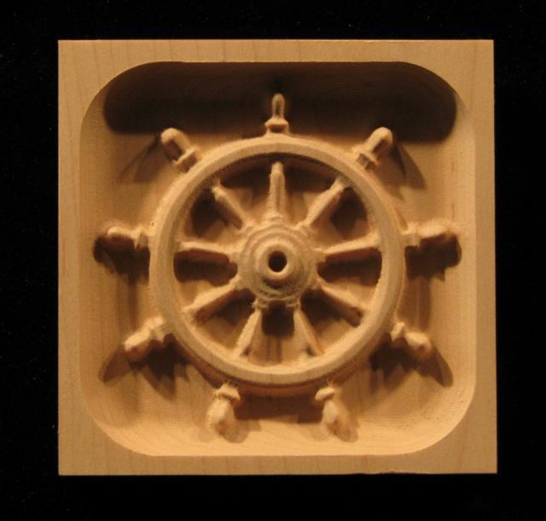 Block Ships Wheel Carved Wood