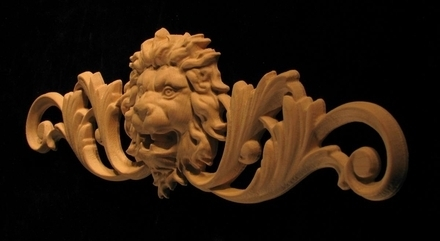 Onlay - Wide - Roaring Lion Head with Scroll Accent