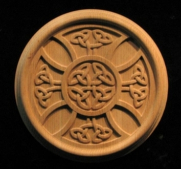 Carved Wood Rosettes Celtic Iron Cross