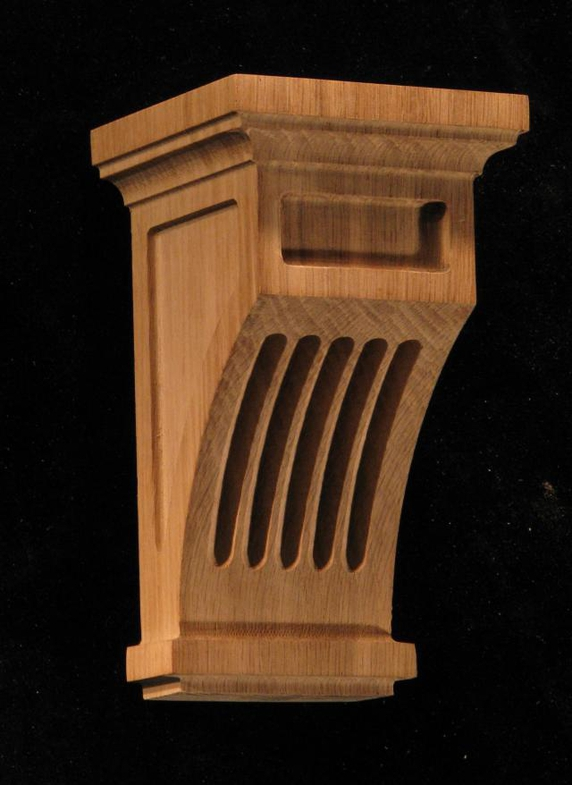 Carved Wood Corbel Mission Style Fluted