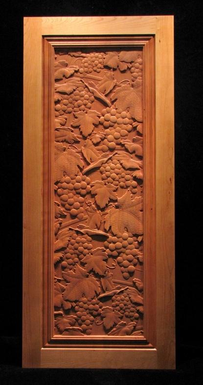 Vineyard grapes carved panel