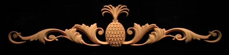 Onlay Carved Plantation Pineapple W Scrolls Carved Wood