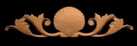 Onlay Carved Scallop Shell With Scrolls Carved Wood