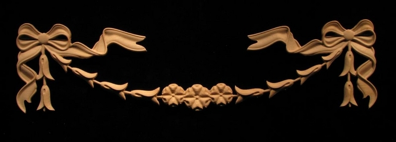 Onlay Ribbon And Bells Swag Carved Wood