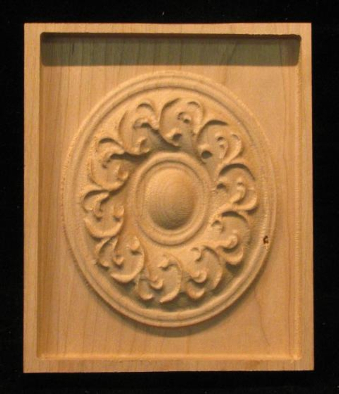 Block French Medallion Carved Wood