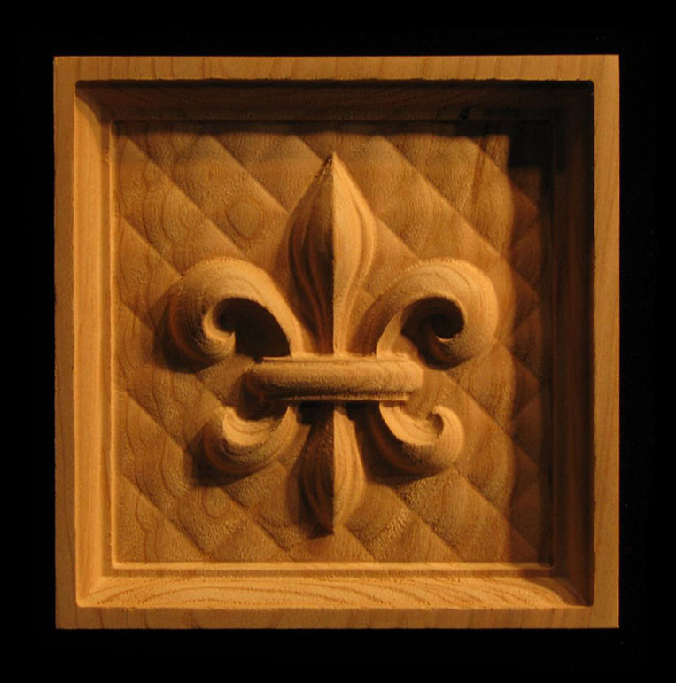 Block Fleur De Lis 3 Carved Wood