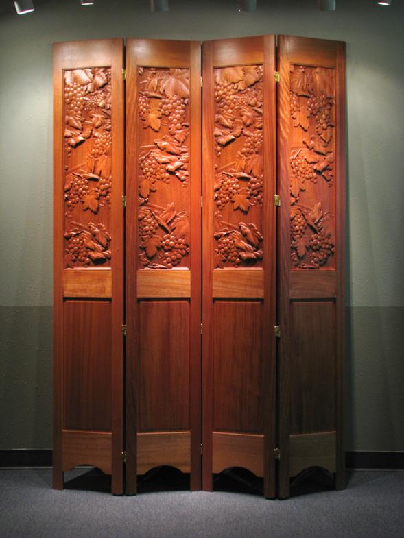 Carved Wine Grape Screen Panels