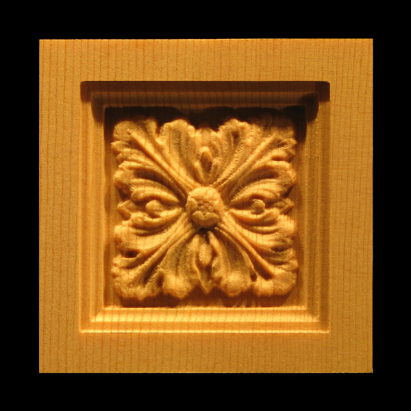 Block Acanthus Leaves Carved Wood