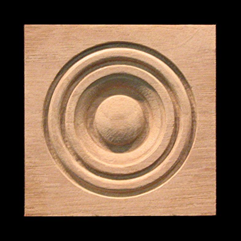 Block Bullseye Rosette 1 Carved Wood