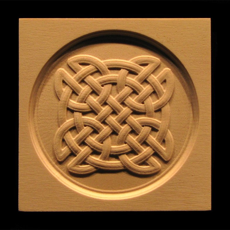 Block Celtic Knot Circle Carved Wood