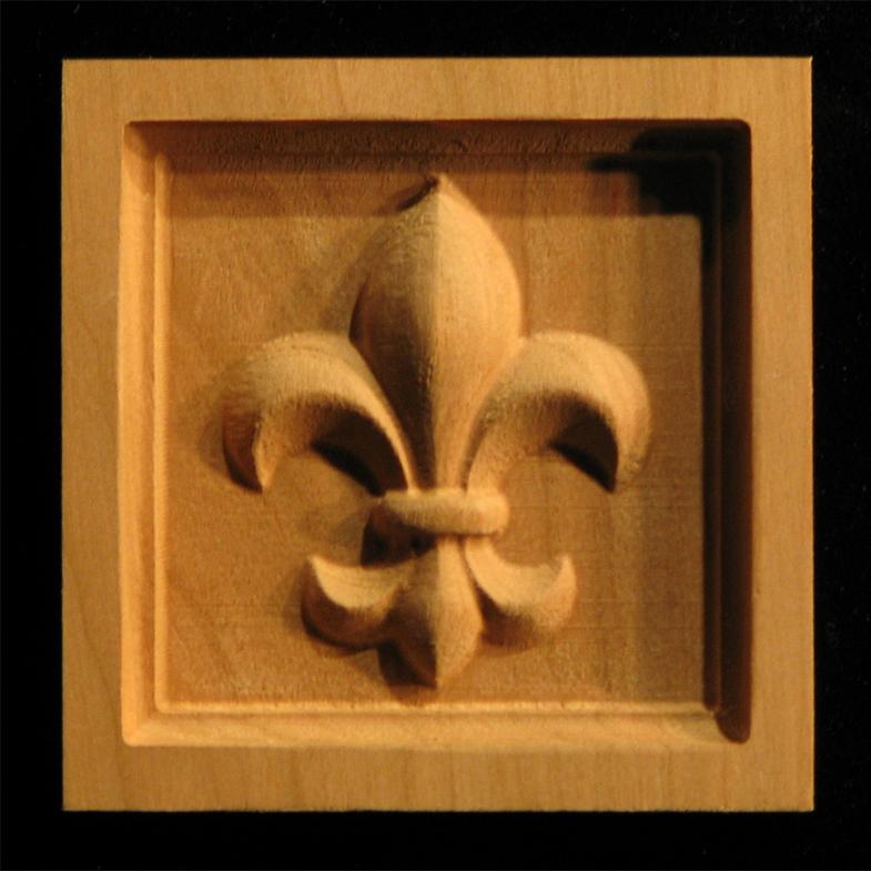 Block Fleur De Lis 3 Carved Wood