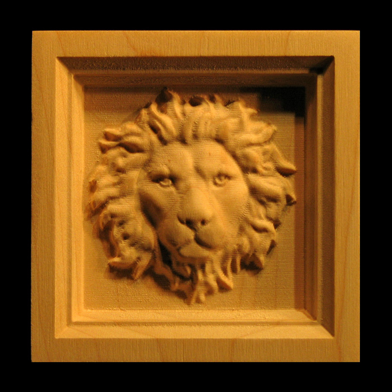 Block Regal Lion Head Carved Wood