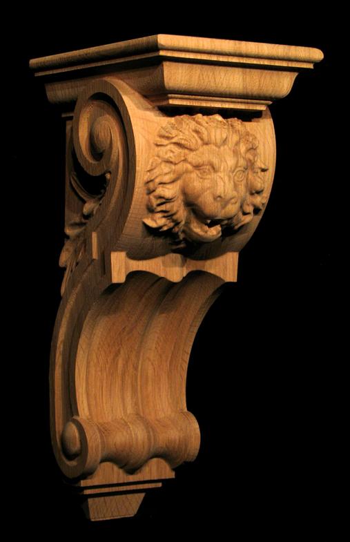 Carved Wood Corbel Roaring Lion