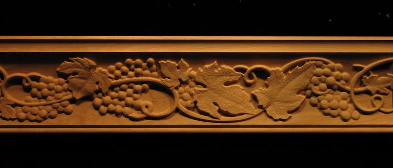 wood carved frieze moulding tuscan grapes