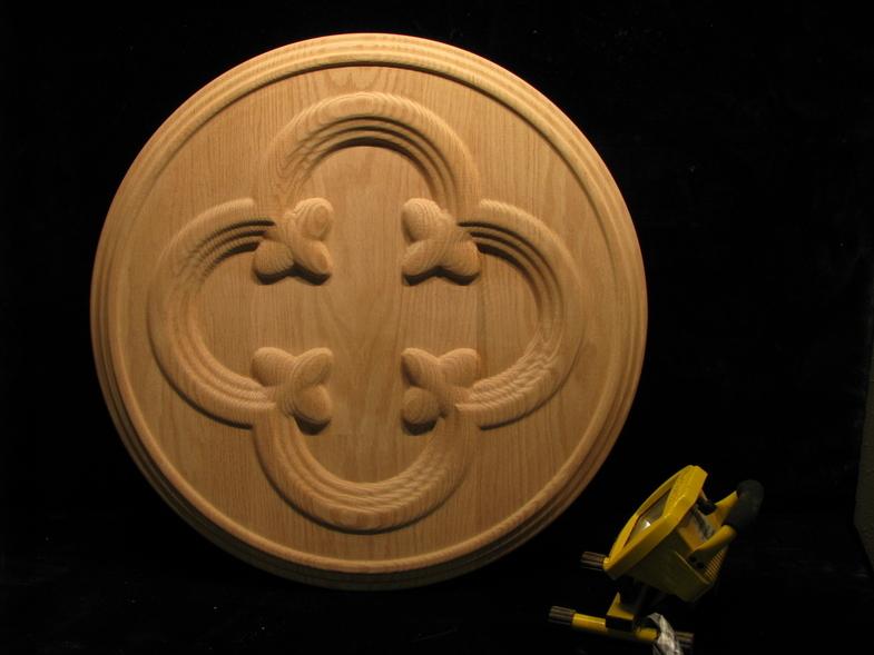 Medallion Gothic Quatrefoil Carved Wood
