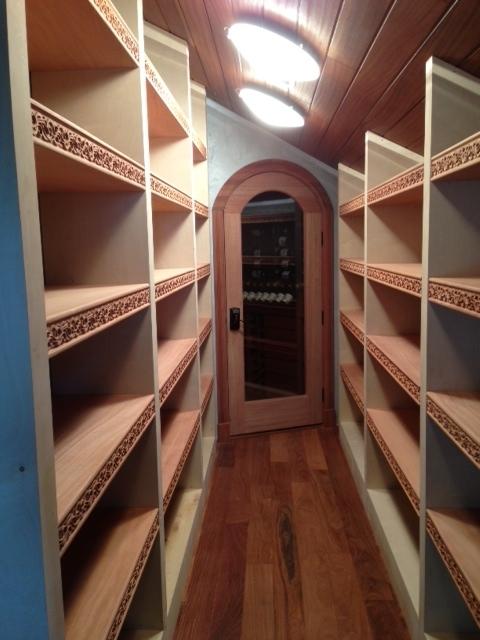 Wine Cellar Shelving- Celtic Nouveau - Sapele