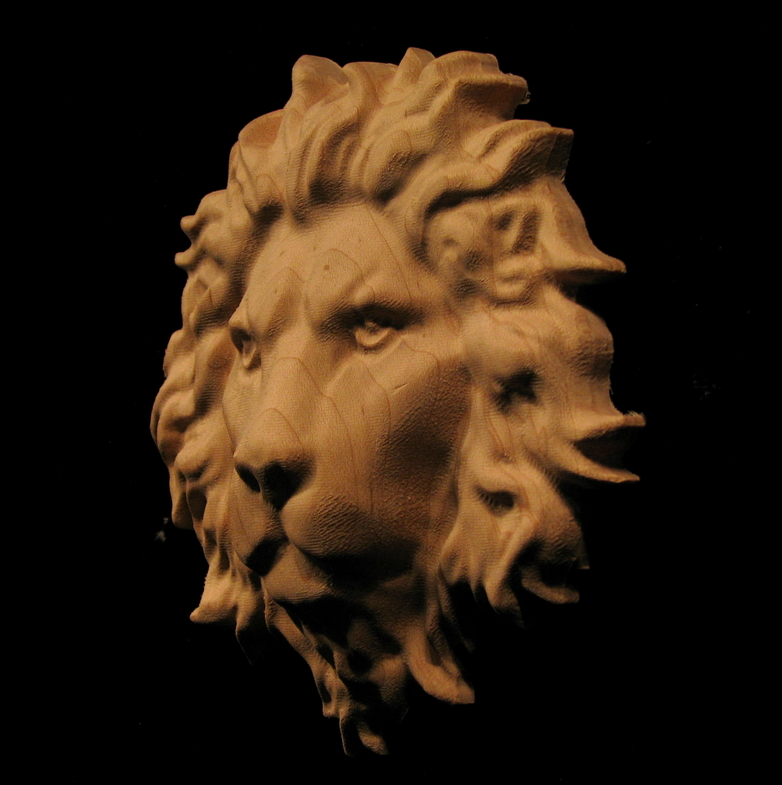 Carved Wood Onlay Applique Carved Lion Head Closed Mouth