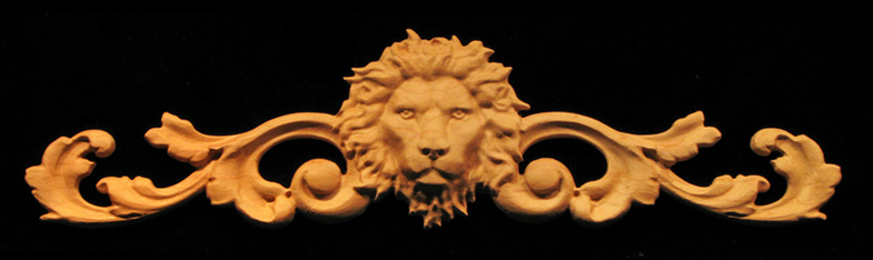 Onlay Regal Lion With Scrollwork Carved Wood