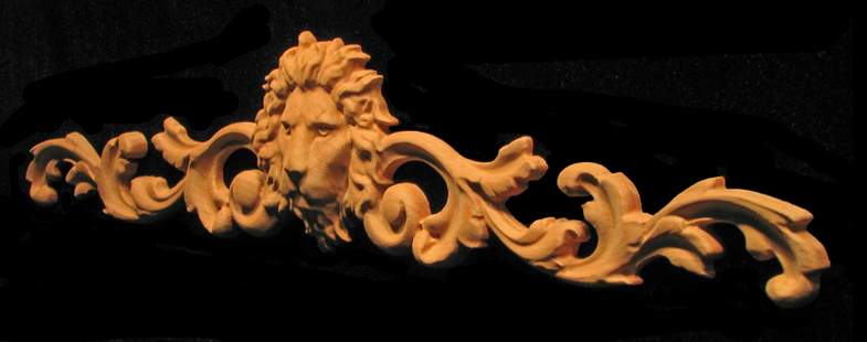 Onlay - Wide - Regal Lion with Scrollwork