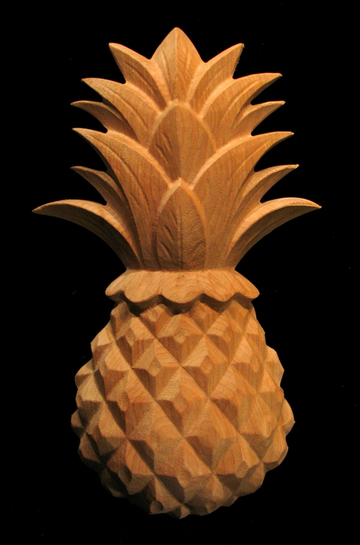 Onlay Classic Pineapple Large Carved Wood