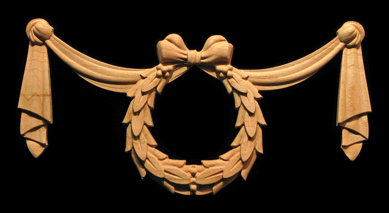Onlay Wreath And Swag Carved Wood