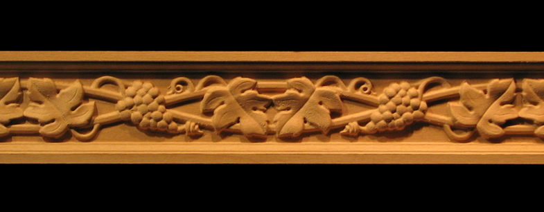 Frieze - Wine Grapes & Leaves Decorative Carved Wood Molding