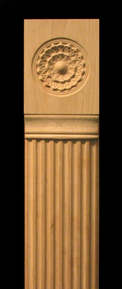 Pilaster - Carved Flutes and Integrated Rosette Carved Wood