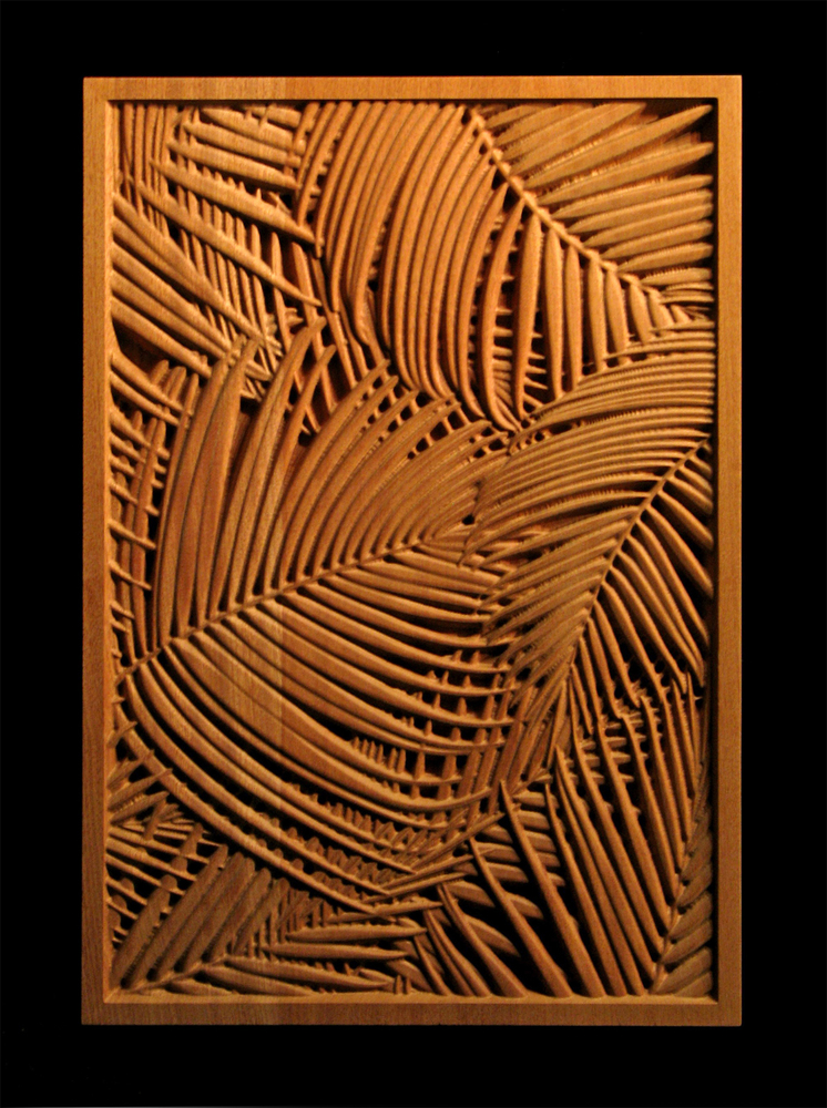 Palm Frond Carved Wood Panel