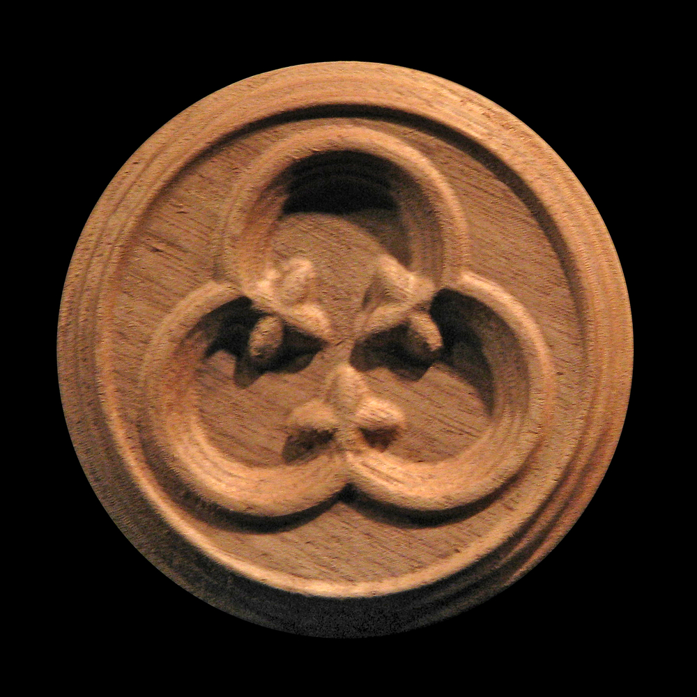 Rosette - Gothic Trefoil carved wood