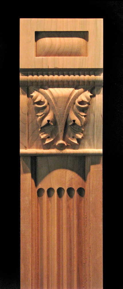 Pilaster Ionic Fluting With Acanthus Capital Carved Wood