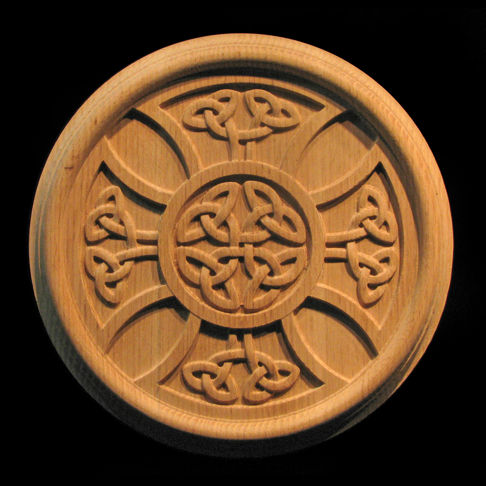 Rosette Celtic Iron Cross Carved Wood