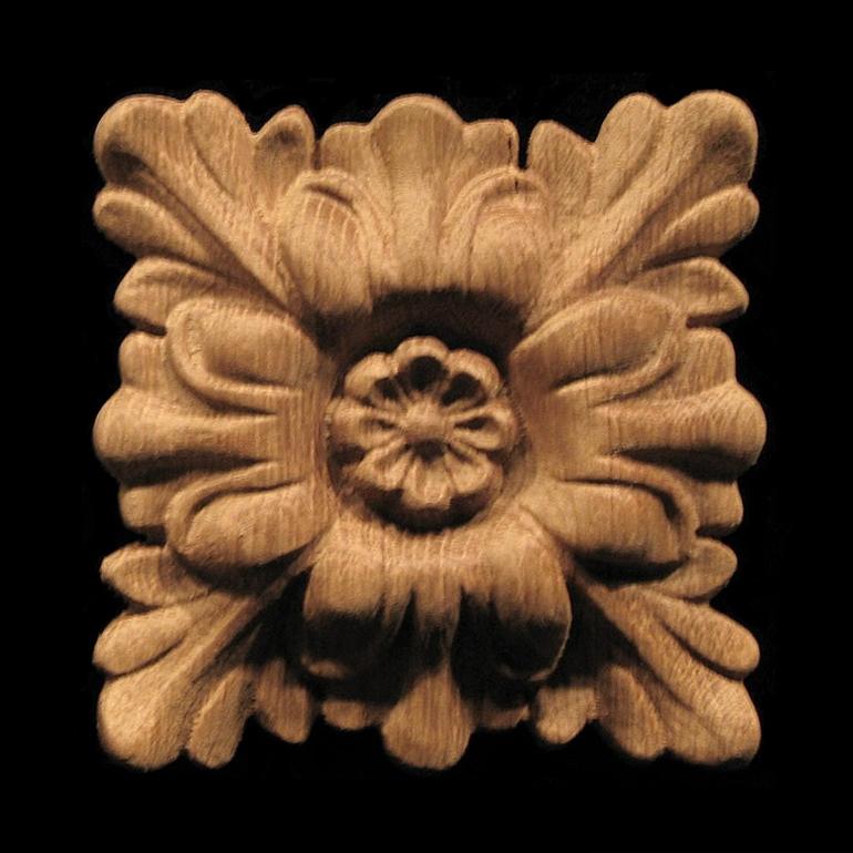 Rosette Floral Square Carved Wood