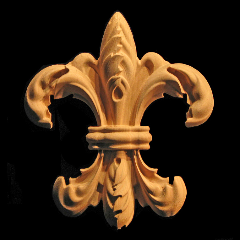 Onlay Fleur De Lis 2 Carved Wood