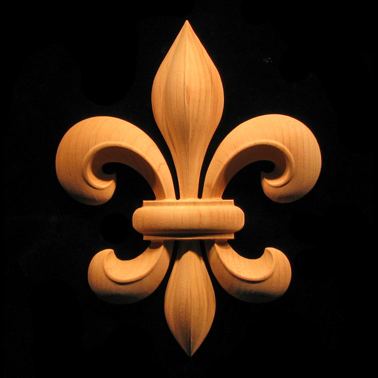 Onlay Fleur De Lis Carved Wood