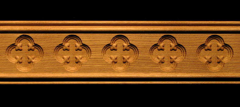 Molding Gothic Quatrefoil Decorative Carved Wood Molding