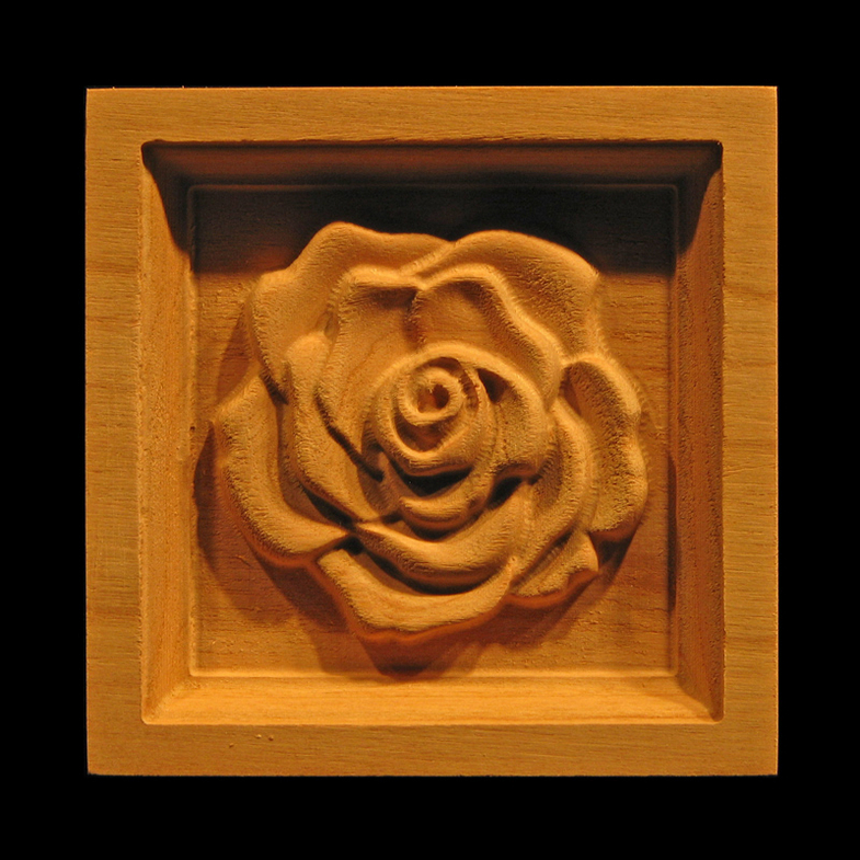 Block Carved Rose Carved Wood