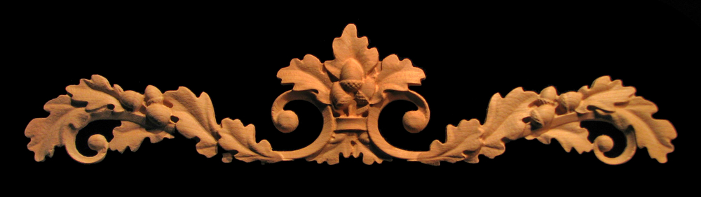 Onlay - Wide - Oak Leaves with Acorns and Scrollwork