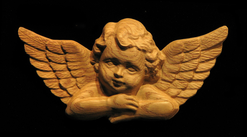 Onlay Cherub Carved Wood
