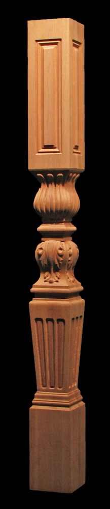 Newel Post - Tapered Flutes with Acanthus