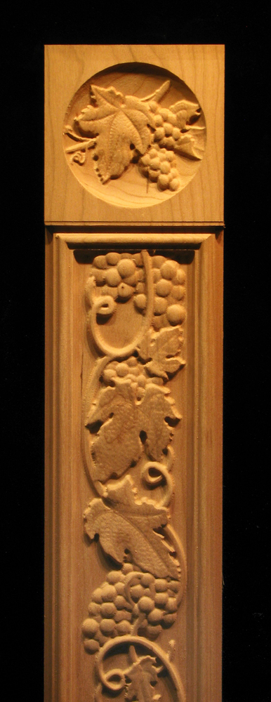 Pilaster Tuscan Grapes Carved Wood