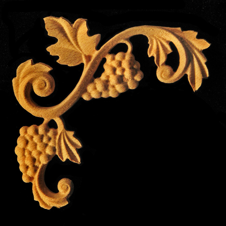 Onlay Acanthus Corner Volutes Carved Wood