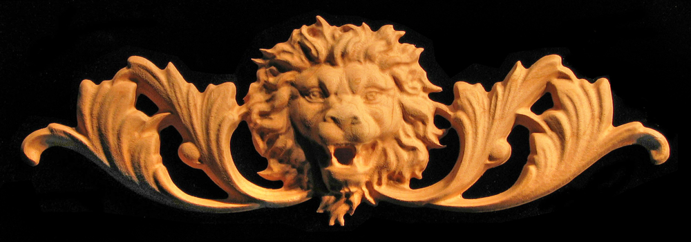 Onlay Roaring Lion Head With Scrollwork Carved Wood