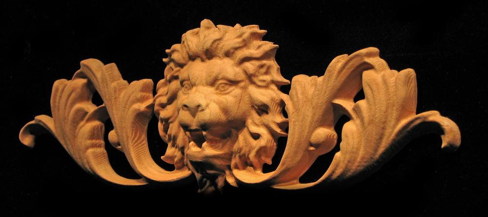 Onlay - Wide  - Roaring Lion Head w Scroll - Short