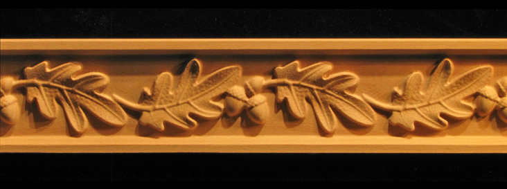 Frieze- Oak Leaves & Acorns Decorative Carved Wood Molding