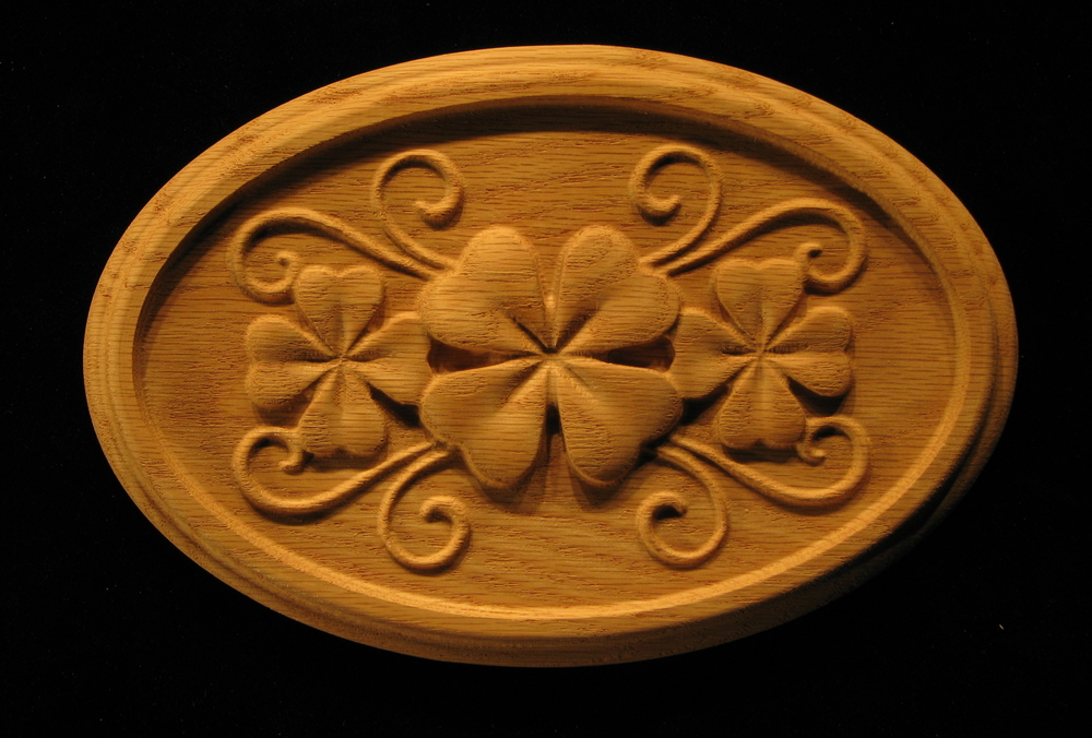 Carved Wood Onlay Rosette Shamrock Clover In Oval