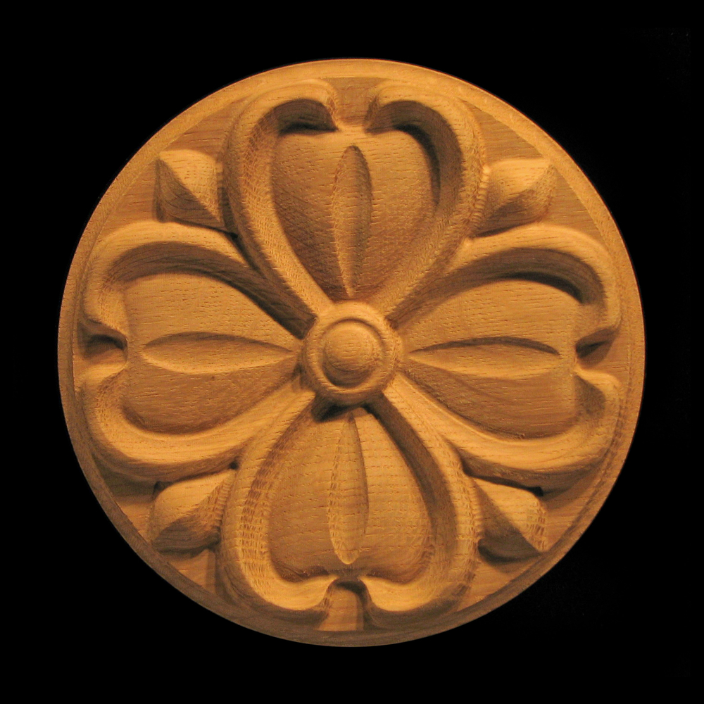Rosette Dogwood Flower Carved Wood