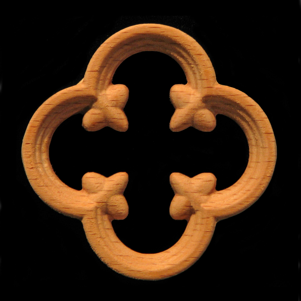 Onlay Gothic Quatrefoil Pierced Carved Wood