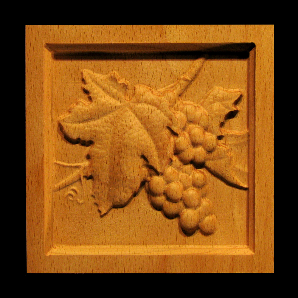Block Wine Grapes Carved Wood