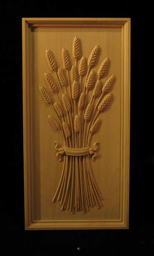 Panel Wheat With Ribbon Carved Wood